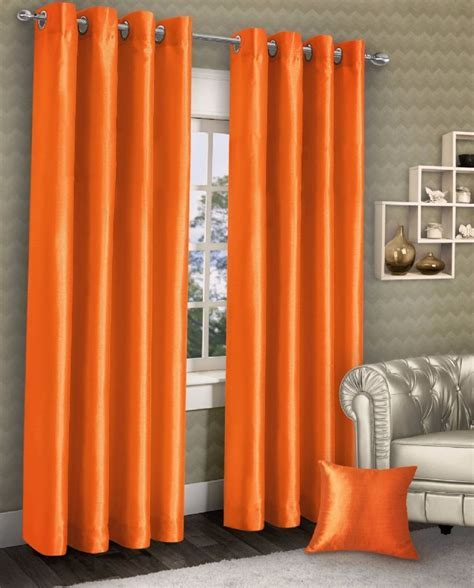 STYLISH RING TOP EYELET LINED CURTAINS PLAIN FAUX SILK ORANGE COLOUR