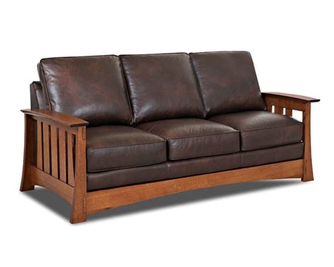 Sleeper Sofa by Mission Style Leather Sleeper Sofa American Made Cl7016dqsl