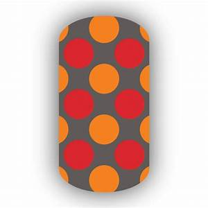 Charcoal with Red & Light Orange Retro Polka Dots Nail Wraps