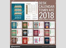 2018 年的桌子日历模板。带有励志报价单模板。组的 12 个月。周从星期日开始。矢量图 — 图库矢量图像©