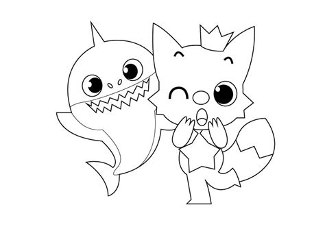 baby shark family coloring pages