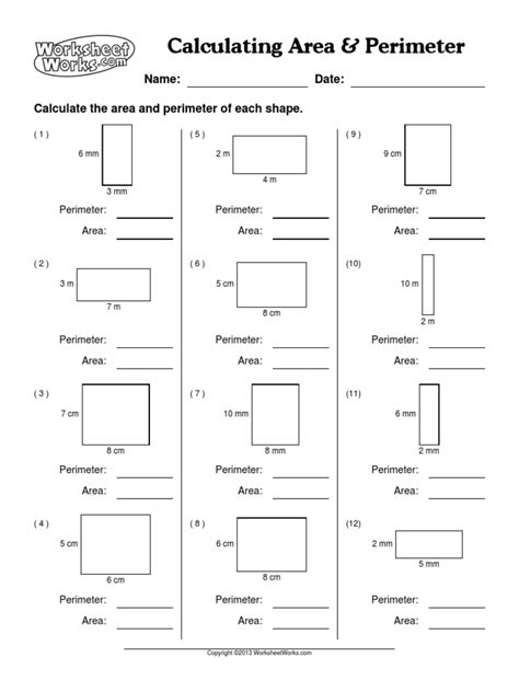 worksheet works calculating area answers worksheet works calculating area and perimeter answers