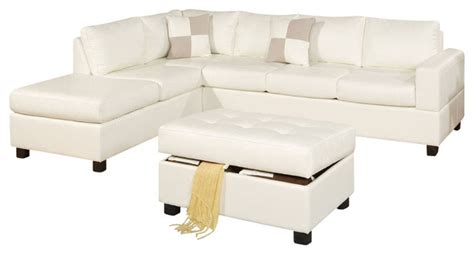 hton leather reversible sectional and storage ottoman 3 pcs cream bonded leather sectional sofa with reversible