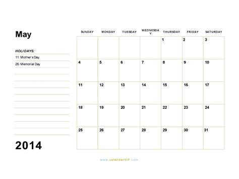 Calendar Template May 2014 Costumepartyrun