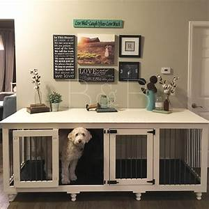 The double doggie dentm indoor rustic dog kennel for two for Indoor double dog kennel