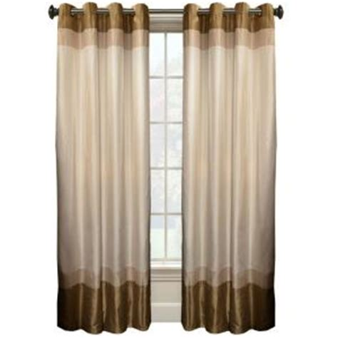 Curtain Grommet Kit Home Depot by Colorblock 95 In L Ivory Taupe Faux Silk Grommet Curtain