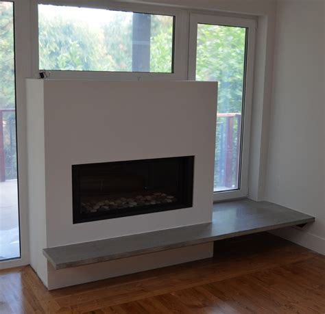 dining room window treatment ideas modern floating concrete fireplace hearth modern