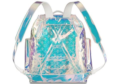 louis vuitton christopher prism  clear transparent embossed monogram pvc backpack tradesy