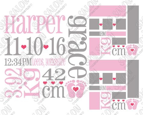 Birth announcement cards serve as the first glimpse of your cute newborn with the emergence of social media, it is now easy to announce the good the glittery and light colors used in this template are what makes it perfect for birth announcement template. Baby Girl Birth Announcement Metric Template SVG Cut File Set