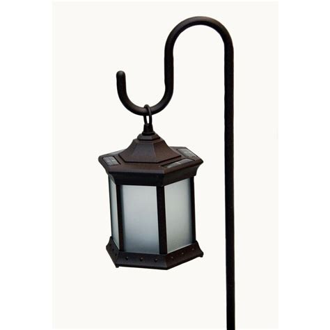 sided frosted glass solar lantern  shepherds hook