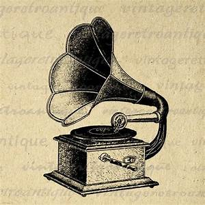 Printable Antique Phonograph Digital Image Music Record ...