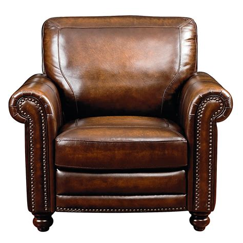 Hand Rubbed Brown Leather Chair With Turned Legs
