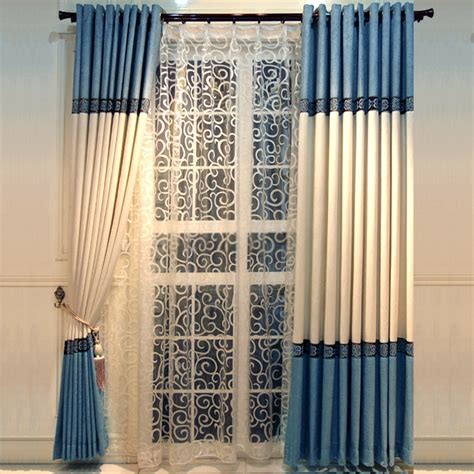 multi color chenille blue room darkening curtains with