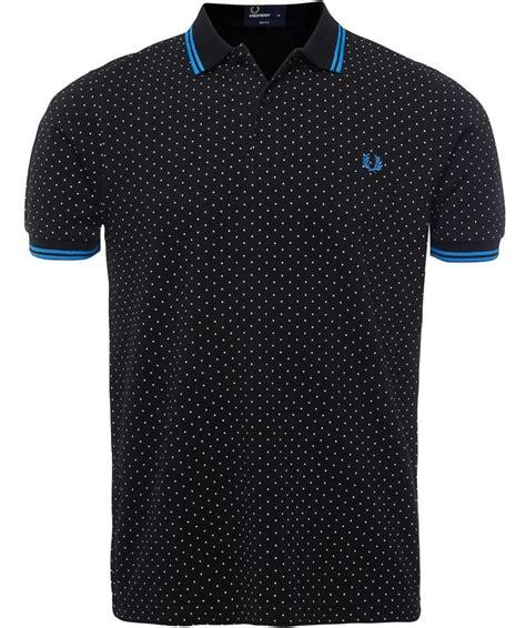 fred perry polka dot print polo shirt  men  black