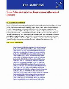 Toyota Pickup Electrical Wiring Diagram Manual Pdf