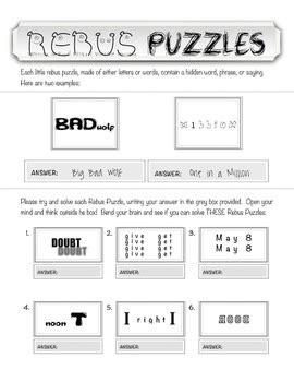 rebus quot wuzzle quot puzzle worksheet 2 teachmehowtoalge by
