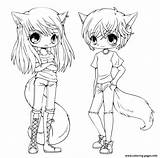 Coloring Anime Twins Cute Pages Printable Print Info sketch template