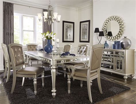 orsina silver extendable dining room set  homelegance