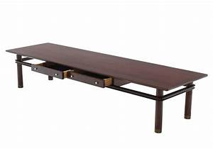 long mid century modern walnut coffee table with two With mid century coffee table with drawers