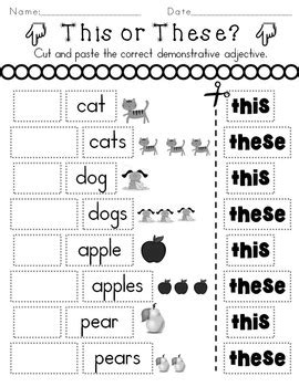 determiners demonstratives worksheets distance learning
