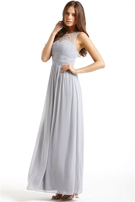 mistress grey embellished detail maxi dress