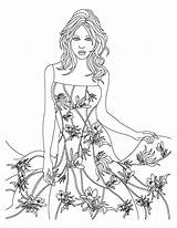 Coloring Dress Wear Theme Floral Pages Template Models Coloringsky Sheet Designs Books Sketch sketch template