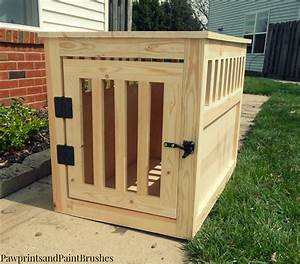 paw prints and paintbrushes diy wooden dog crate that With build a dog cage