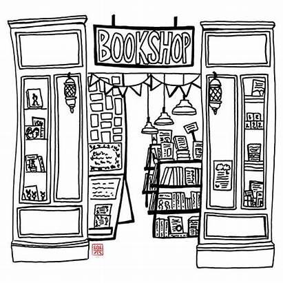 Bookshop Hand Sketch Drawn Printable Drawing Bookstore