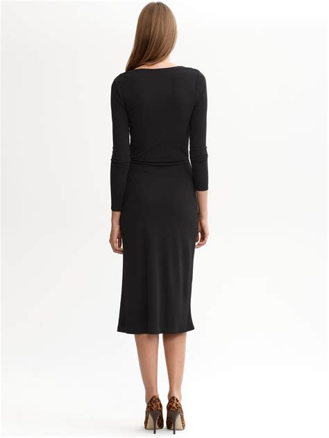 banana republic monogram knit faux wrap dress  black lyst
