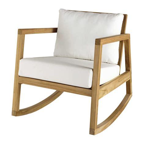 fauteuil 224 bascule en teck et tissu blanc alpin maisons du monde