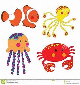 Set Of Cartoon Sea Creatures Stock Illustration ...
