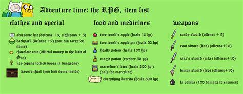 Adventure Time Rpg Item List By Tebited15 On Deviantart