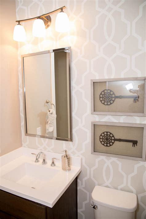wallpaper in bathroom ideas small bathroom with graphic wallpaper hgtv