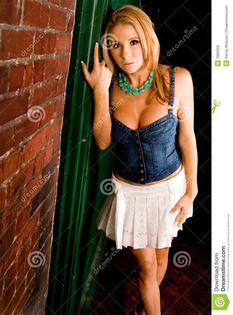 Blonde In Mini Skirt Stock Image Image Of Seductive Girl