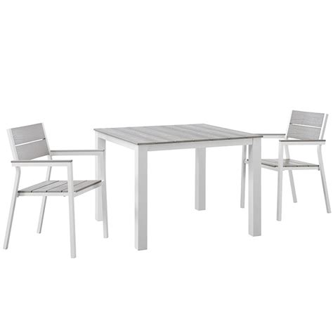 maine 3 outdoor patio dining set in white light gray