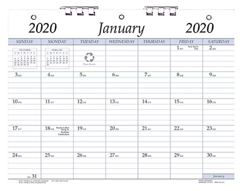 ap    hole punched monthly calendar    inches