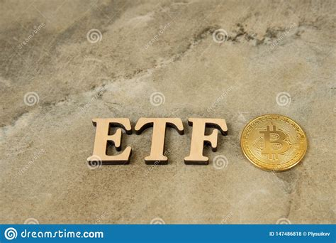 The future shines brightly with unrestricted growth, global adoption, permissionless innovation, and decentralized development. Bitcoin Coin With ETF Text On Stone Background Stock Photo - Image of golden, internet: 147486818