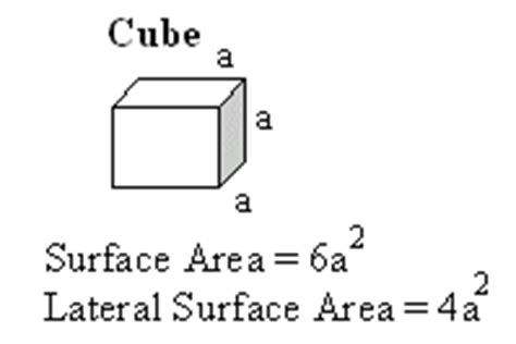 lateral surface area   cube high school mathematics