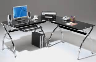 rta products techni mobili corner l shaped black glass computer desk with chrome frame