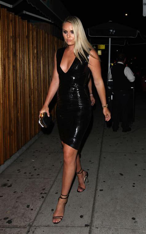 lindsey vonn  tight leather dress  gotceleb
