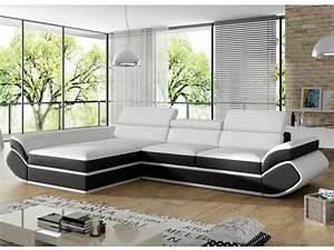 Canape angle convertible simili blanc noir orleans for Tapis chambre enfant avec canape convertible blanc cuir