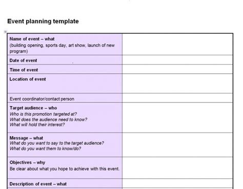 Event Planning Template Event Planning Checklist Template
