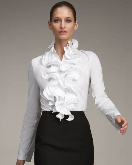 ruffled white blouse escada ruffled blouse in white lyst
