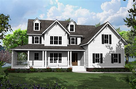 bed country house plan   shaped porch vv