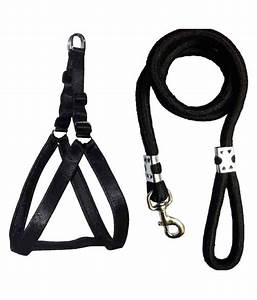 Petshop7 Nylon Black 1 25 In Padded Dog Harness  U0026 Rope