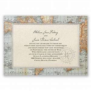antique world map wedding invitation nautical wedding With nautical map wedding invitations