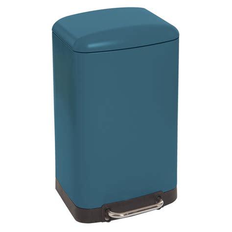 poubelle de cuisine rectangulaire poubelle rectangulaire à pédale 30l bleu mat maison futée