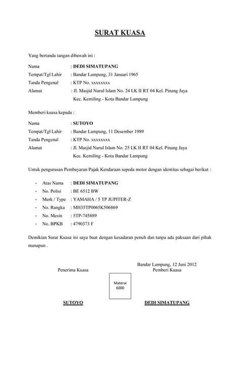 contoh surat kuasa perwakilan pengurusan