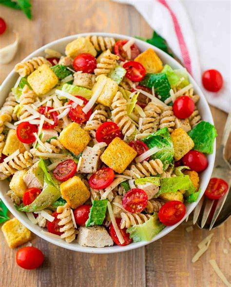 Pasta salads are simple to prepare, delicious and as diverse as you want them to be. Chicken Caesar Pasta Salad   Healthy Recipe