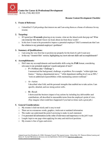 Resume Content by Student Resources Connected